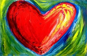 heart study in mixed media